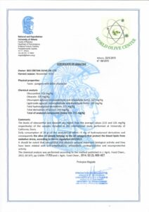 CERTIFICATE OF ANALYSIS OF BIO EXTRA VIRGIN OLIVE OIL_EN